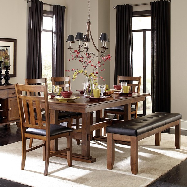 TRIBECCA HOME Kai 6-piece Oak Brown Extending Dining Set