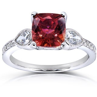 Annello 14k White Gold Pink Tourmaline and 2/5ct TDW Diamond Ring (G-H, SI1-SI2)
