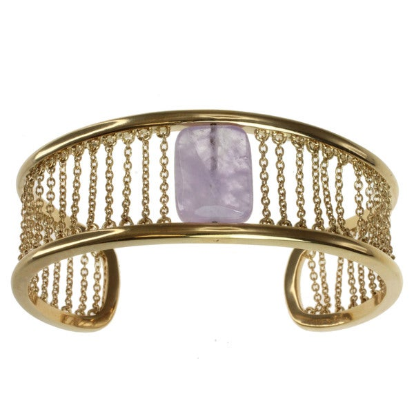 "Michael Valitutti/ Kristen Gold over Silver Amethyst ""Chains"" Cuff Bracelet"