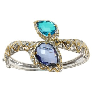 Michael Valitutti Two-tone Blue Quartz and Tanzanite Hinged Bangle Bracelet