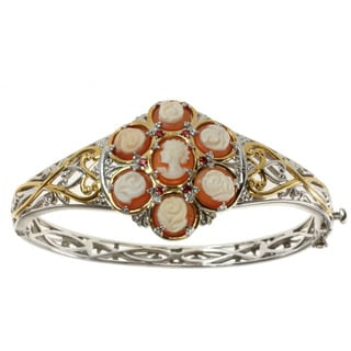 Michael Valitutti Two-tone Cameo and Orange Sapphire Bracelet