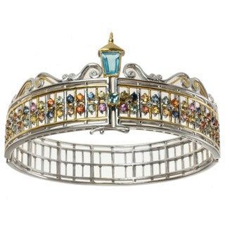 "Michael Valitutti Two-tone Swiss Blue Topaz and Multi-Sapphire Hinged ""Gate"" Bracelet"