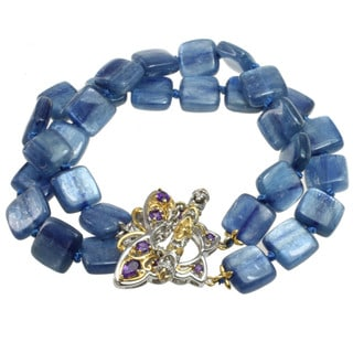 Michael Valitutti Two-tone Kyanite and Amethyst Butterfly Toggle Bracelet