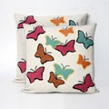 Multi butterfly 20 inch Decorative Throw Pillow (Set of 2)