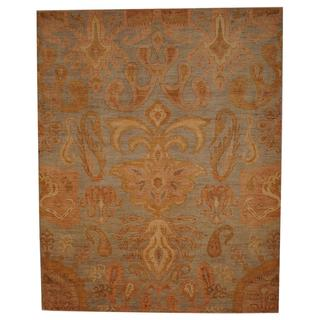 Indo Hand-knotted Ikat Light Blue/ Gold Wool Rug (8'1 x 10'2)