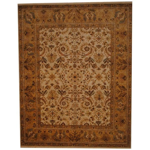 Herat Oriental Indo Hand-knotted Mahal Ivory/ Gold Wool Rug (8' x 10') 12254473