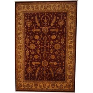 Afghan Hand-knotted Vegetable Dye Rust/ Ivory Wool Rug (6'8 x 10')