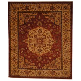 Herat Oriental Afghan Hand-knotted Vegetable Dye Rust/ Ivory Wool Rug (8' x 9'10)