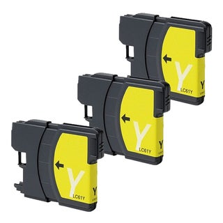 Brother LC61 Remanufactured Compatible Yellow Ink Cartridge (Pack of 3)