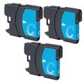 Brother LC61 Remanufactured Compatible Cyan Ink Cartridge (Pack of 3)