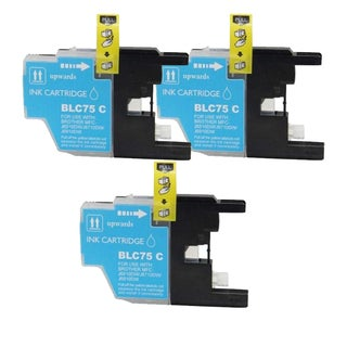 Brother LC75 Remanufactured Compatible Cyan Ink Cartridge (Pack of 3)