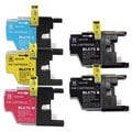 Brother LC75, 2x Black 1x Cyan, Yellow, Magenta Compatible Ink Cartridge Set (Remanufactured) (Pack of 5)
