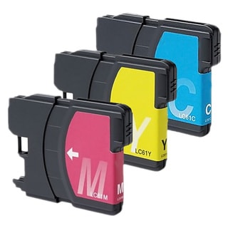 Brother LC61 Cyan, Yellow, Magenta Compatible Ink Cartridge Set (Remanufactured) (Pack of 3)