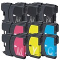 Brother LC61 3x BK, 2xCYM Compatible Ink Cartridge Set (Remanufactured) (Pack of 9)