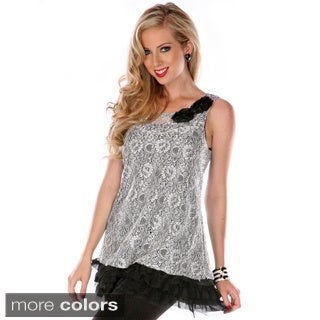 Women's Sleeveless Mesh Lace Top