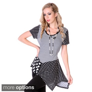 Women's Mixed Polka-dot Spliced Top