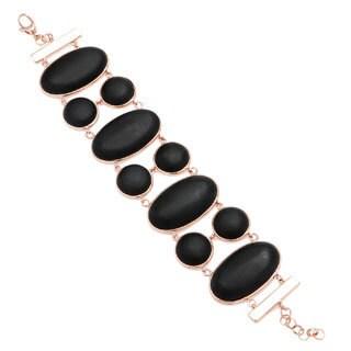 18k Rose Gold Overlay Black Agate Stone Bracelet