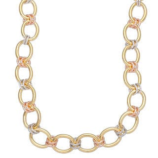 Tri-color Gold over Bronze 18-inch Large Link Necklace