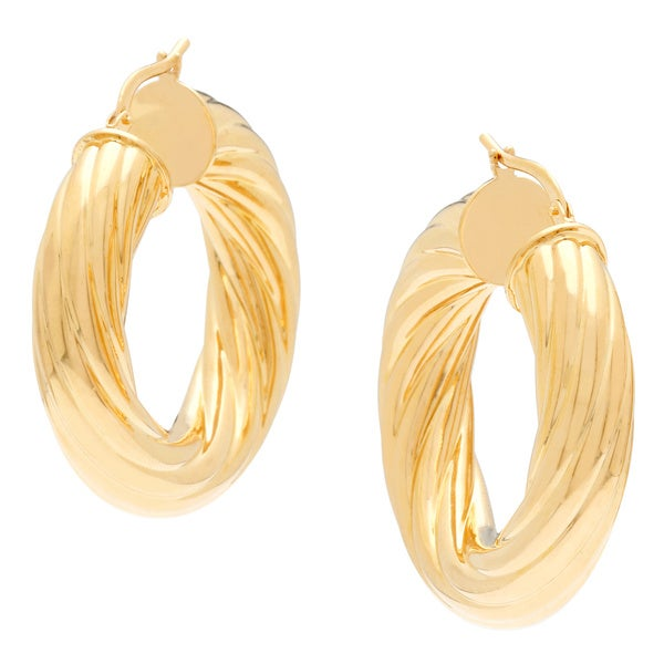 18k Yellow goldplated Twisted Rope Hoop Earrings