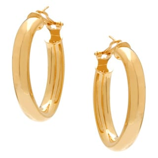 18k Yellow Goldplated Large Oval Hoop Earrings