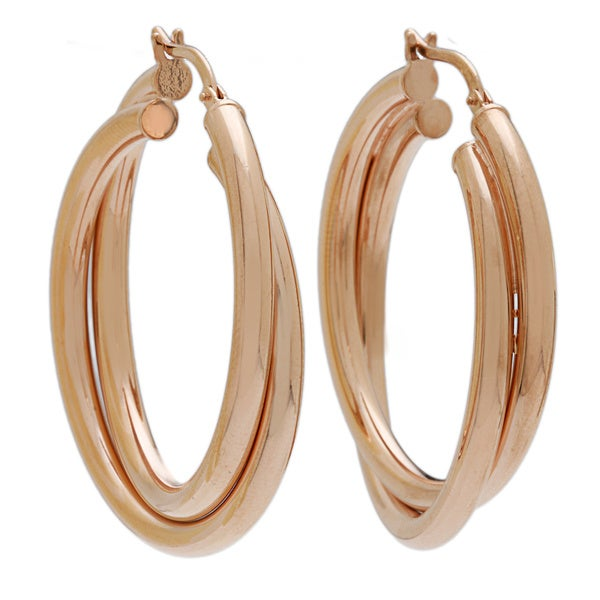 18k Rose Goldplated Polished Double Hoop Earrings