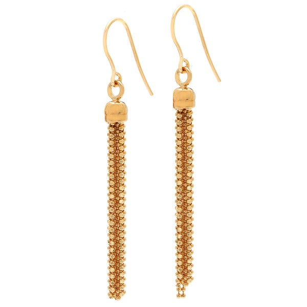 18k Yellow Goldplated Multi-strand Bead Drop Earrings