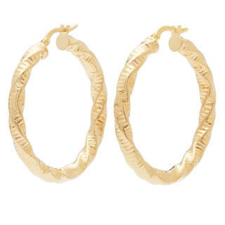 18k Yellow Goldplated Twisted/ Hammered Round Hoop Earrings