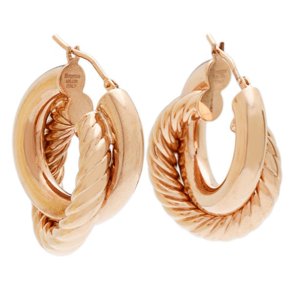 18k Rose Goldplated Large Double Hoop Earrings