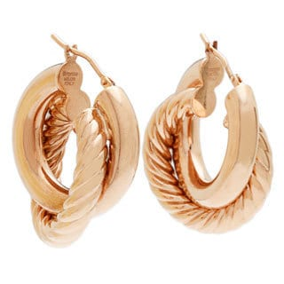 18k Rose Goldplated Large Double Hoop Earrings