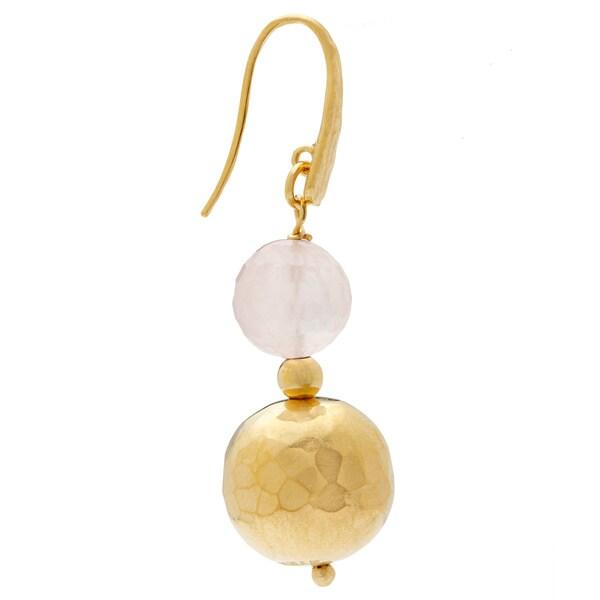 18k Yellow Goldplated Rose Quarts Hammered Dangle Earrings