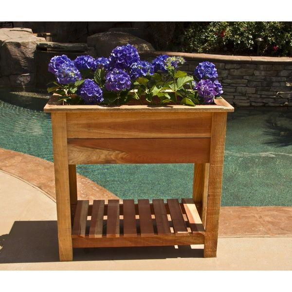 36 inch raised redwood planter with shelf 15932244 overstock com