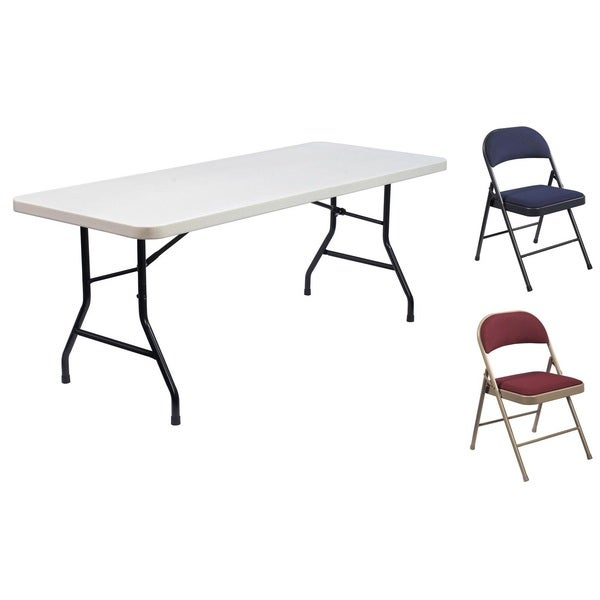 Lightweight Plastic Folding Table & Fabric Chair Set (5-piece set)