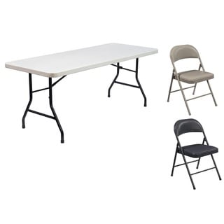 Lightweight Plastic Folding Table & Vinyl Chair Set (5-piece Set)
