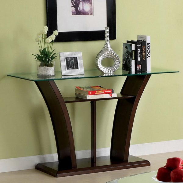Furniture of America Adrian Dark Cherry/ Beveled Glass Sofa Table
