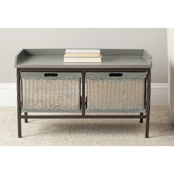 Safavieh Noah Grey Wooden Storage Bench 15932355 Shopping Great Deals On