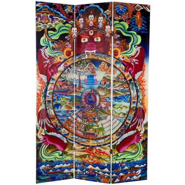 6-foot Tall 'The Wheel of Life' Double-sided Canvas Room Divider