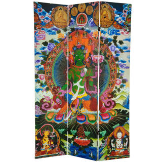 6-foot Tall Green Tara Tibetan Double-sided Canvas Room Divider
