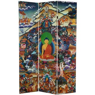 6-foot Tall 'Footprints of Enlightenment 'Double-sided Canvas Room Divider