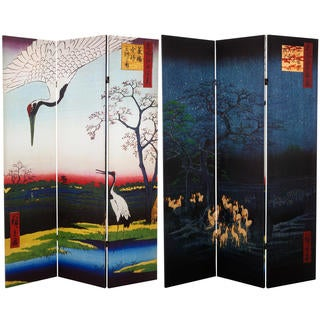 6-foot Tall Double-sided Hiroshige Room Divider