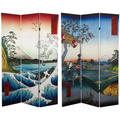6-foot Tall Double-sided Sea at Satta and Teahouse Hiroshige Room Divider