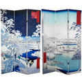 6-foot Tall Double-sided Drum Bridge and River Bank Hiroshige Room Divider