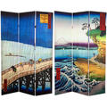 6-foot Tall Double-sided Sudden Shower and Coast at Hota Hiroshige Room Divider