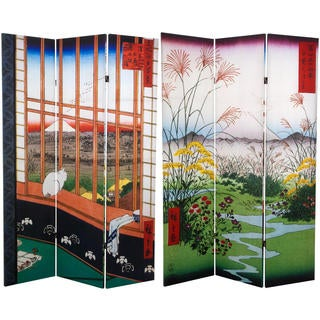 6-foot Tall Double-sided Asakusa Rice Field and Otsuki Plain Hiroshige Room Divider