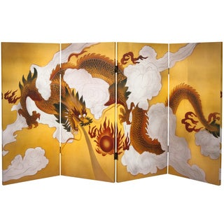 3-foot Tall Double-sided Dragon in the Sky Canvas Room Divider