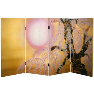 3-foot Tall Double-sided Sakura Blossoms Canvas Room Divider