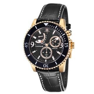 Earnshaw Men's 'Admiral' Black Leather Watch