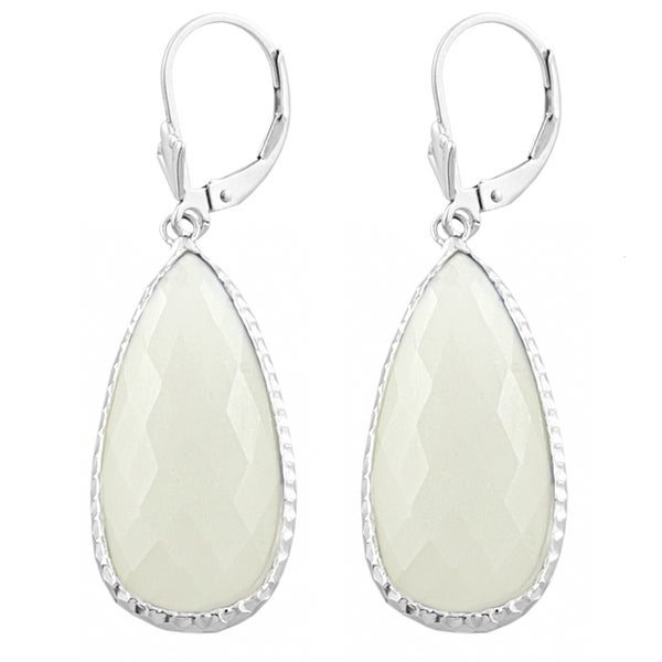 Fremada Sterling Silver Pear-shaped Moonstone Dangle Earrings