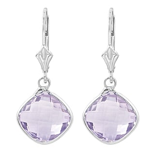 Fremada Sterling Silver Cushion Pink Amethyst Drop Earrings