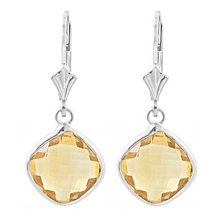 Fremada Sterling Silver Cushion Citrine Drop Earrings