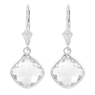 Fremada Sterling Silver Cushion Clear Quartz Drop Earrings